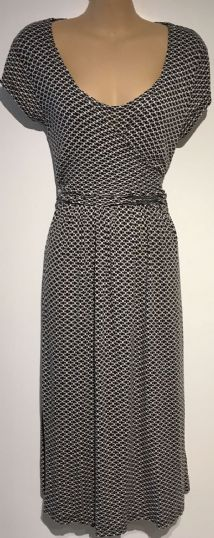 JOJO MAMAN BEBE BLACK/WHITE SPOTTY WRAP  TIE NURSING DRESS SIZE M 12